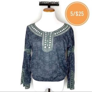 Free People Embroidered Detail Blue Floral Blouse